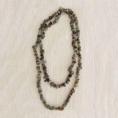 Green garnet beaded long necklace, 'Rainy Forest' - Natural Garnet Long Beaded Necklace from Brazil