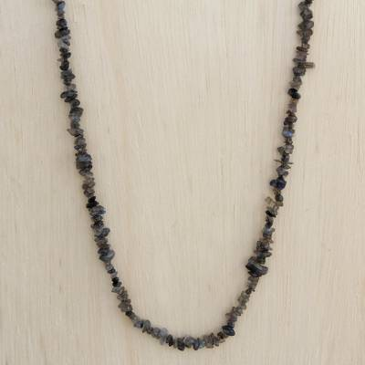 Labradorite long beaded necklace, 'Midnight Waterfall' - Natural Labradorite Long Beaded Necklace from Brazil