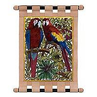 Leather wall hanging, 'Red Macaws' - Handcrafted Leather Wall Hanging of Two Macaws from Brazil