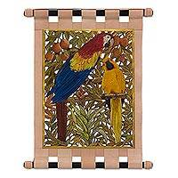 Leather wall hanging, 'Friendly Macaws' - Leather Wall Hanging of Two Colorful Macaws from Brazil