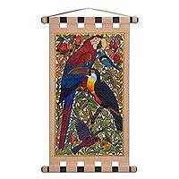 Leather wall hanging, 'Friends in Paradise' - Handmade Leather Birds of Paradise Wall Hanging from Brazil