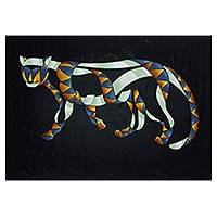Tiger in the Night - Surreal Nighttime Tiger Painting from Brazil