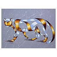 'Wild Tiger' - Original Surreal Bengal Tiger Painting from Brazil