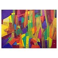 'Bali' - Signed Original Abstract Art Painting in Tropical Tones