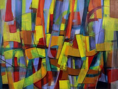 Modern Abstract Painting in Acrylics from Brazil