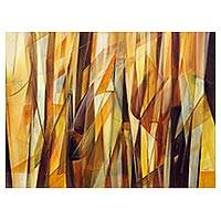 'Superimposed' - Signed Brazilian Abstract Painting in Yellows and Browns