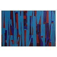 'Simplicity' - Signed Blue Original Abstract Painting from Brazil