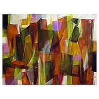 'Illuminated City II' - Signed Original Multicolored Abstract Painting from Brazil