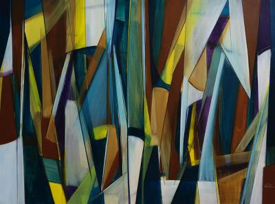 'Interpositions' - Signed Original Abstract Painting from Brazil
