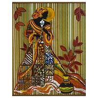 'Graceful Woman' - Signed Freestyle Painting of an African Woman from Brazil