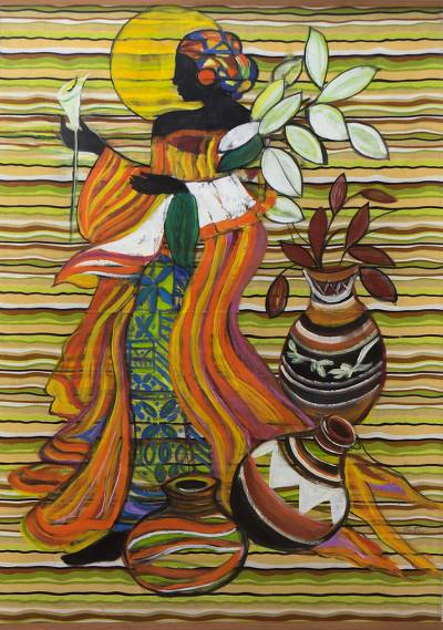 'Simply Woman' - Signed Freestyle Painting of an African Woman from Brazil