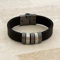 Leather wristband bracelet, 'Spatial Shine in Black' - Black Leather Bracelet with Shining Accents from Brazil