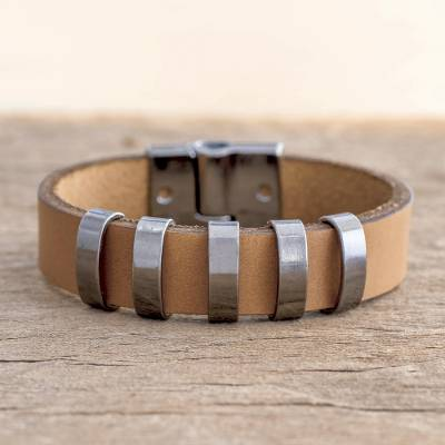Men's leather wristband bracelet, 'City Cowboy' - Men's Brown Leather Bracelet with Metal Accents from Brazil