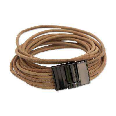 Handcrafted Leather Cord Beige Wrap Bracelet from Brazil