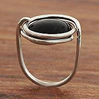Onyx cocktail ring, 'Midnight Pool' - Onyx and 925 Silver Minimalist Cocktail Ring from Brazil