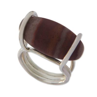 Jasper and 925 Silver Minimalist Cocktail Ring from Brazil