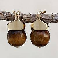 Gold plated tiger's eye drop earrings, 'Honey Acorn' - Tiger's Eye Drop Earrings Bathed in 18k Gold from Brazil