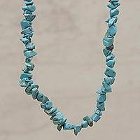 Beaded necklace, 'Turquoise Infatuation' - Artisan Crafted Reconstituted Turquoise Beaded Necklace