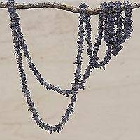Iolite beaded necklace, 'Blue Violet Infatuation' - Natural Iolite Beaded Necklace Artisan Crafted in Brazil