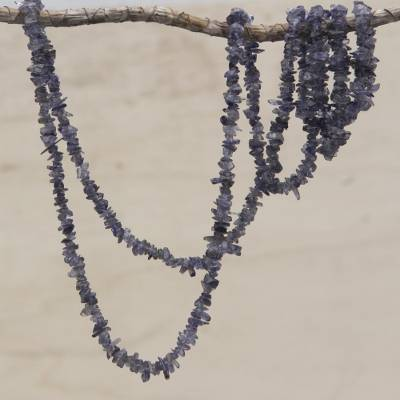 Iolite beaded necklace, 'Blue-Violet Infatuation' - Natural Iolite Beaded Necklace Artisan Crafted in Brazil