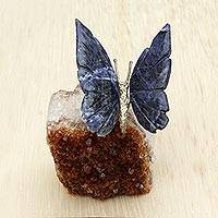 Gemstone sculpture, 'Blue Butterfly' - Natural Gemstone Butterfly Sculpture from Brazil