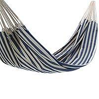 Cotton hammock, 'Maritime Brazil' (double) - Woven Striped Cotton Double Hammock from Brazil