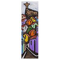 Cedar wood wall art, 'Dawn at the Favela' - Signed Cedar Wood Naif Painting of a Brazilian Cityscape