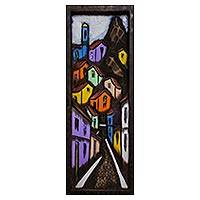 'Favela Hill' - Signed Cedar Wood Painting of a Favela from Brazil