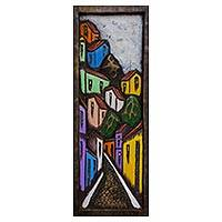 'Colorful Favela' - Signed Cedar Wood Painting of a Favela Cityscape from Brazil