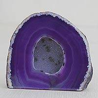 Agate decor accessory, 'Purple Geode' - Purple Agate Gemstone Decor Accessory from Brazil