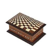 Mahogany decorative box, 'Checkered Mystery' - Handcrafted Mahogany Decorative Box with Checkered Lid