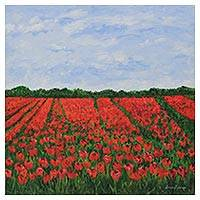 'Field of Tulips II' - Signed Impressionist Painting of a Tulip Field from Brazil