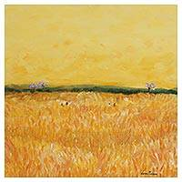 'Wheat Field' - Signed Impressionist Painting of a Wheat Field from Brazil