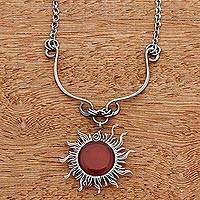 Agate pendant necklace, 'Sun Rays' - Agate Sun-Themed Pendant Necklace from Brazil