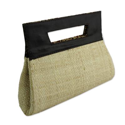 Handcrafted Palm Leaf Handbag in Ecru from Brazil