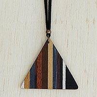 Wood pendant necklace, 'Dusk Triangle' - Colorful Triangular Wood Pendant Necklace from Brazil