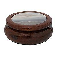 Agate and wood decorative box, 'Secret Delight' - Wood and Grey Agate Decorative Box from Brazil