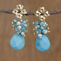 Gold plated cultured pearl dangle earrings, 'Flowering Turquoise' - Gold Plated Cultured Pearl Floral Earrings