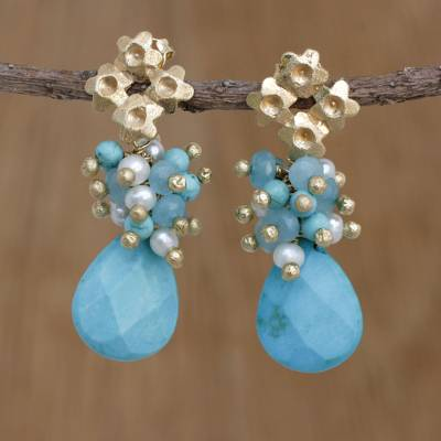 Gold plated cultured pearl dangle earrings, Flowering Turquoise