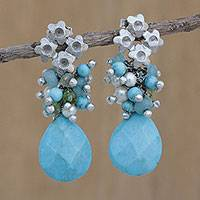 Rhodium plated multi-gemstone dangle earrings, 'Flowering Turquoise' - Rhodium Plated Multi-Gem Floral Dangle Earrings from Brazil