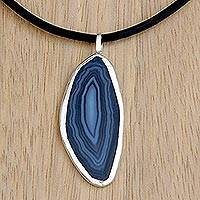 Agate pendant necklace, 'Blue Lake' - Brazilian Blue Agate Pendant Necklace