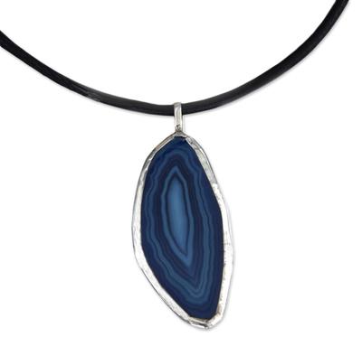 Handcrafted Brazilian Blue Agate Pendant Necklace