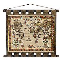 Leather wall hanging, 'Global Cartography' - Handcrafted Leather Wall Hanging of a Map from Brazil