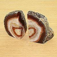 Agate bookends, 'Romantic Earth' - Handcrafted Natural Agate Bookends from Brazil