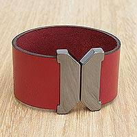 Leather wristband bracelet, 'Amazon Red' - Red Leather Wristband Bracelet with Magnetic Clasp