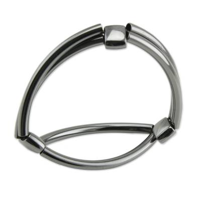 Stainless steel stretch wristband bracelet, 'Modern Dignity' - Stainless Steel Stretch Wristband Bracelet from Brazil