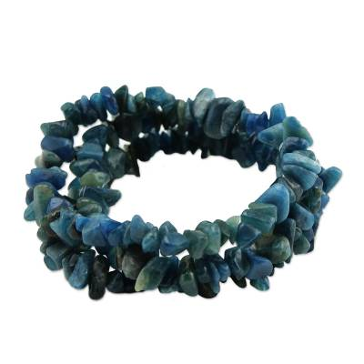 Apatite beaded stretch bracelets, 'Naturally Oceanic' (set of 3) - Set of Three Apatite Beaded Stretch Bracelets from Brazil
