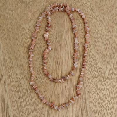 Moonstone beaded long necklace, 'Earthen Infatuation' - Natural Moonstone Beaded Necklace from Brazil