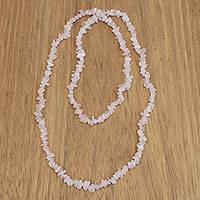 Rose quartz beaded long necklace, 'Pink Infatuation' - Natural Pink Rose Quartz Beaded Necklace from Brazil