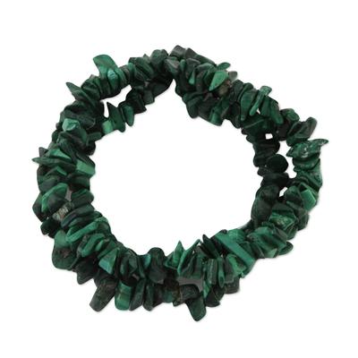 Set of Three Malachite Beaded Stretch Bracelets from Brazil